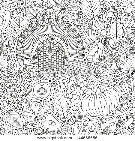 Thanksgiving day seamless pattern. Various elements for design. Cartoon vector illustration. Black and white colors. Autumn background