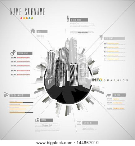 Creative resume template with cityscape. Vector art