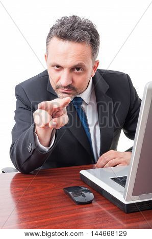 Businessman Doing Watching You Gesture