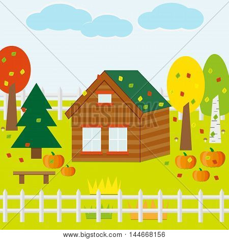 Autumn Garden with House, Pumpkins, Leaves, Trees, Sky. Flat Design Style.