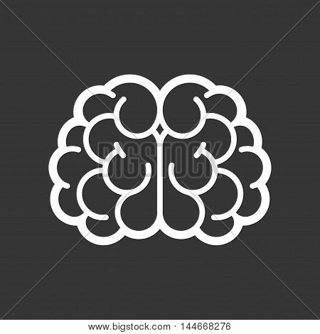 Brain Logo Icon on Black Background. Vector illustration