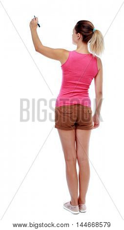back view of writing beautiful woman. Isolated over white background. Sport blond in brown shorts writes over your head.