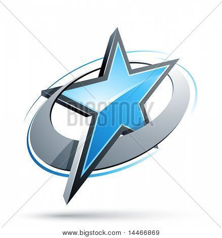 blue Star In A Chrome Circle