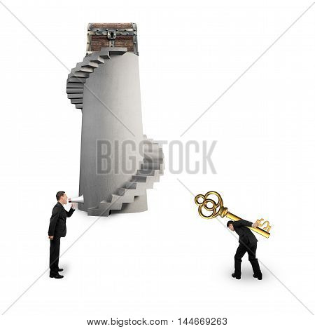 Man Shouting Other Carrying Dollar Sign Key With Treasure Chest
