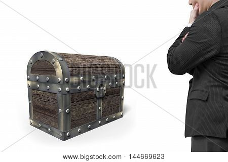 Old Treasure Chest With Man Looking At