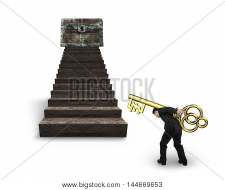 Man Carrying Pound Symbol Key Toward Treasure Chest