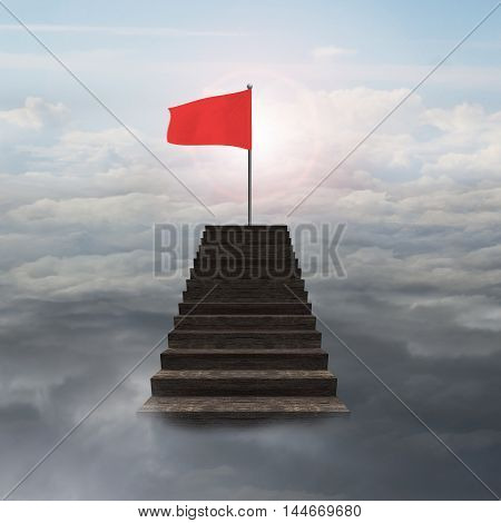 Red Wavy Flag On Top Of Wooden Stairs