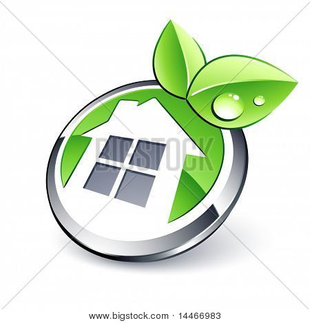 green house icon and leaf