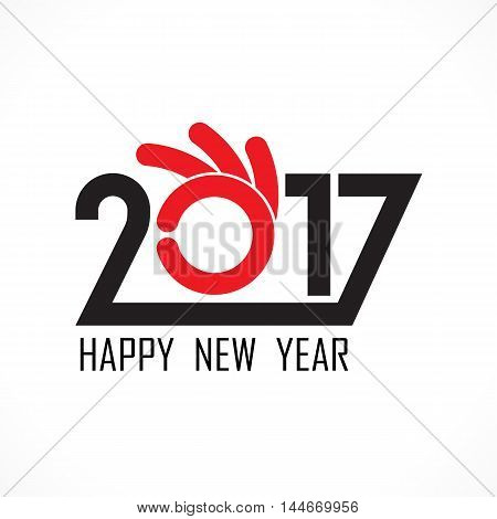 201 and 7 and hand sign with holiday background concept.Happy new year 2017 holiday background.2017 Happy New Year greeting card.Vector illustration