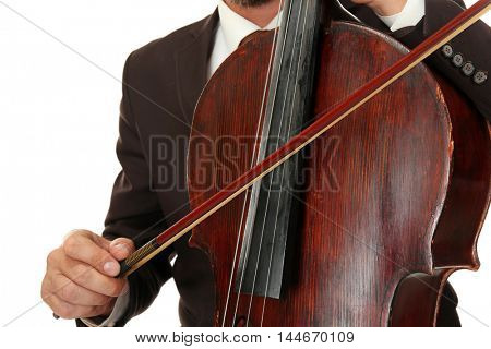 Man playing cello on white background, closeup