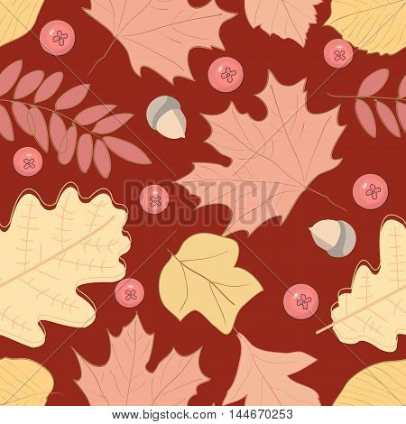 Autumn seamless pattern with leaf, vector illustration