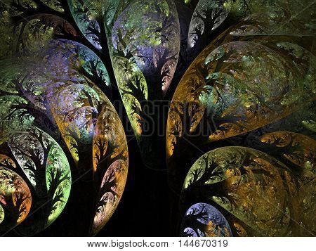 Abstract fractal autumn yellow trees computer generated image on dark background