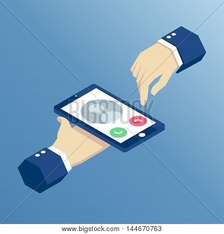 incoming call on isometric mobile phone isometric hands holding smart phone vector illustration