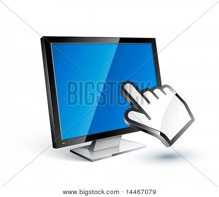 Flat screen and hand cursor
