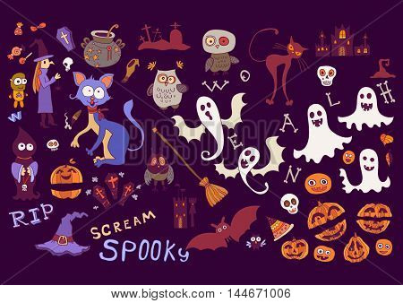 Halloween dark background with doodle scary silhouettes