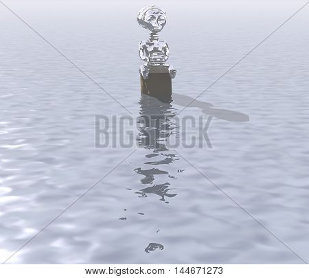 3d illustration: A mysterious figure to snag on the water surface