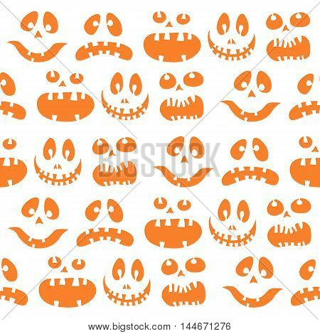 Halloween white doodle background with scary silhouettes