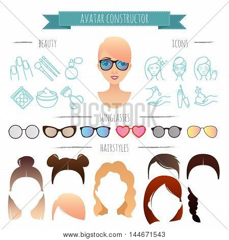 Avatar constructor. 7 hairstyles, 6 sunglasses, 12 beauty icons for your design