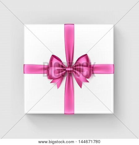 Vector White Square Gift Box with Shiny Light Bright Pink Satin Bow and Ribbon Top View Close up Isolated on White Background