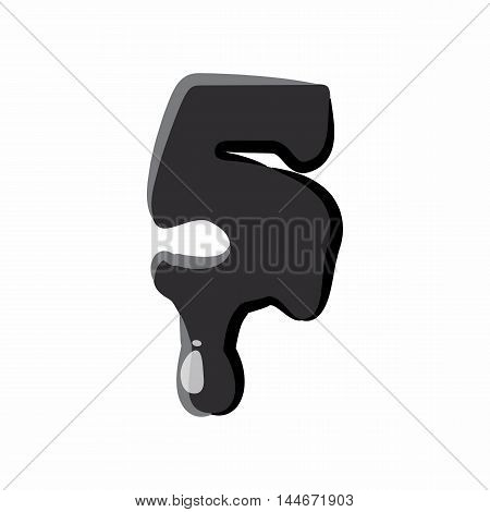 Number five 5 isolated on white background. Black liquid oil five 5 number vector illustration