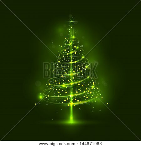 Shining christmas tree the magic christmas tree shinny christmas tree.Happy new year and merry christmas abstract background.Vector illustration