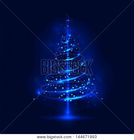 Shining christmas tree; the magic christmas tree; shinny christmas tree.Happy new year and merry christmas abstract background.Vector illustration