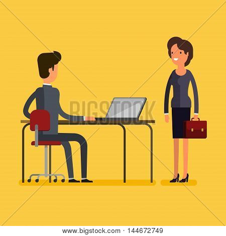 Business concept. Cartoon business man and woman meeting at office. Flat design, vector illustration.