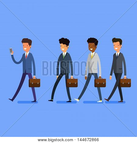 Business concept. People follow the leader with phone. Flat design, vector illustration.