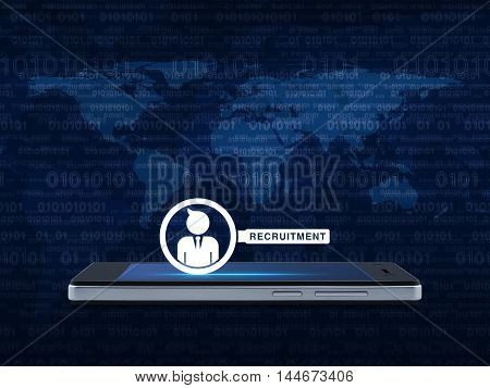 Businessman with magnifying glass icon on modern smart phone screen over map and computer binary code blue background Recruitment concept Elements of this image furnished by NASA