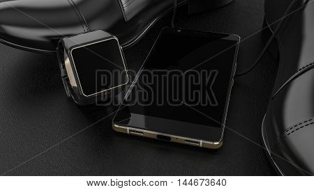 Elegant Male Shoe and Smartwatch with Mobile phone on dark leather background.