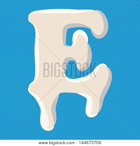E letter isolated on baby blue background. Milky E letter vector illustration