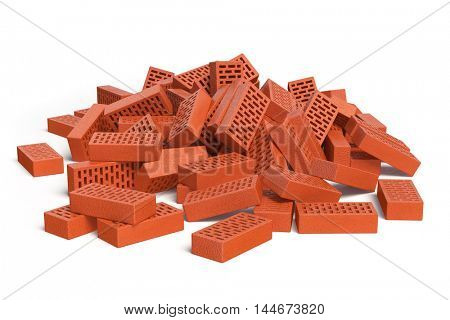 Pile of bricks isolated on white. Construction concept. 3d illustration