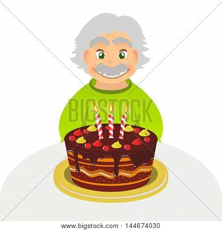 Old man celebrating birthday. Senior man with chocolate cake and candle sitting alone over white. Portrait of grandfather with grey hair and mustache front view. caucasian elder man.
