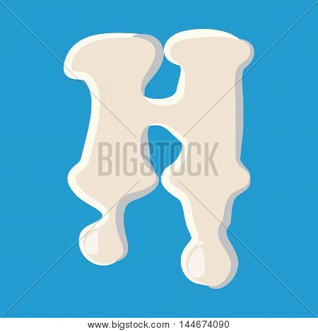 H letter isolated on baby blue background. Milky H letter vector illustration