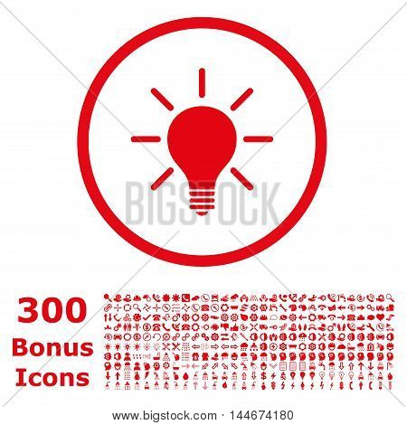Light Bulb rounded icon with 300 bonus icons. Vector illustration style is flat iconic symbols, red color, white background.