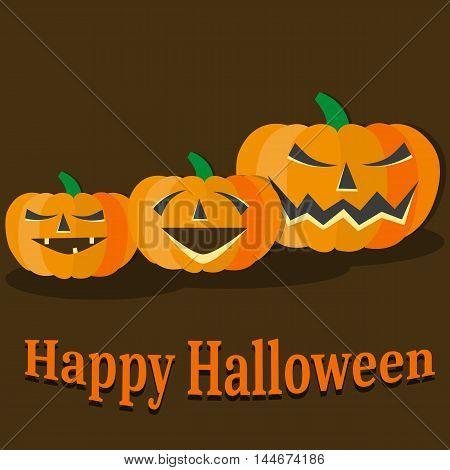 Halloween pumkin vector illustration orange icons set
