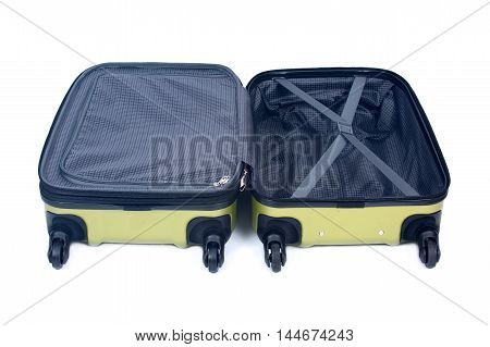 Open green hardshell luggage separated on white background