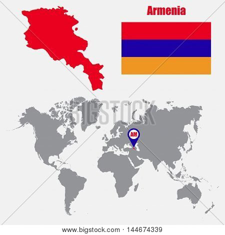 Armenia map on a world map with flag and map pointer. Vector illustration