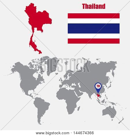 Thailand map on a world map with flag and map pointer. Vector illustration