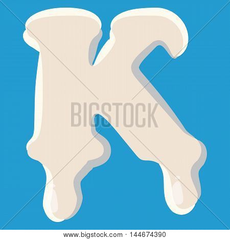 K letter isolated on baby blue background. Milky K letter vector illustration
