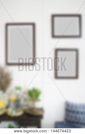 Blur room interior with frames, stock photo