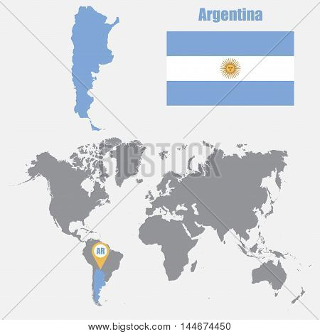 Argentina map on a world map with flag and map pointer. Vector illustration