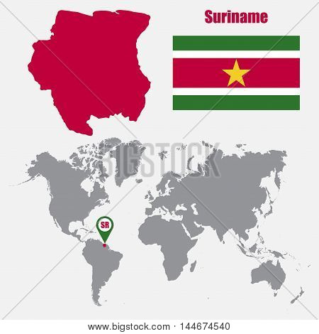 Suriname map on a world map with flag and map pointer. Vector illustration