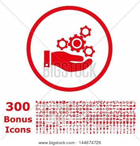 Mechanics Service rounded icon with 300 bonus icons. Vector illustration style is flat iconic symbols, red color, white background.