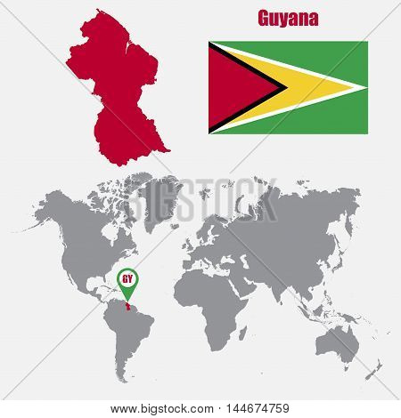 Guyana map on a world map with flag and map pointer. Vector illustration