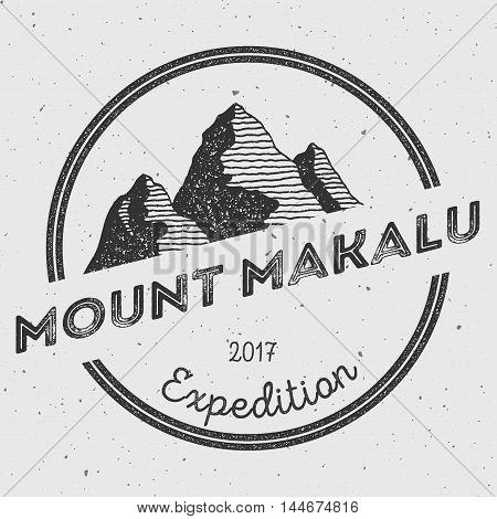 Makalu In Himalayas, Nepal Outdoor Adventure Logo. Round Expedition Vector Insignia. Climbing, Trekk