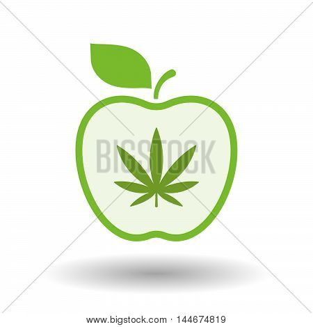 Isolated  Line Art Apple Icon With A Marijuana Leaf