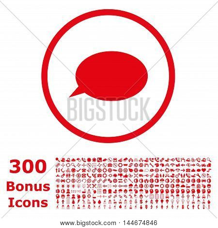 Message Cloud rounded icon with 300 bonus icons. Vector illustration style is flat iconic symbols, red color, white background.