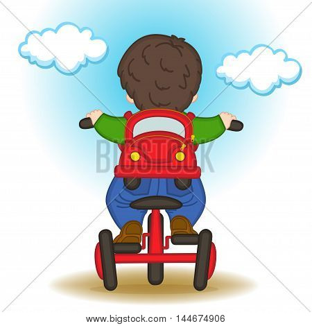 boy with backpack in form of car rides bicycle - vector illustration, eps