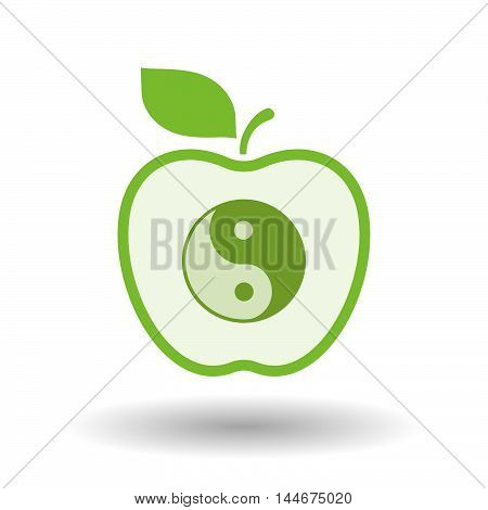 Isolated  Line Art Apple Icon With A Ying Yang